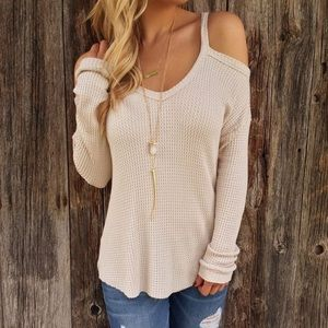 cream waffle knit long sleeve top